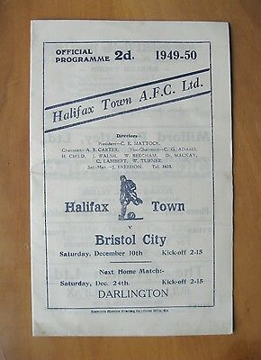 HALIFAX TOWN v BRISTOL CITY Friendly 1949/1950 Good Condition Football Programme