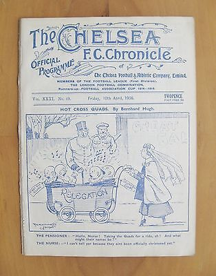 CHELSEA v DERBY COUNTY 1935/1936 *Excellent Condition Football Programme*