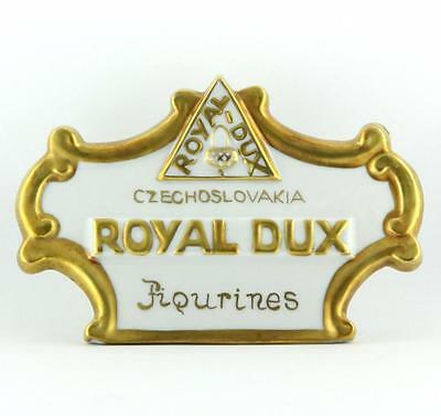 Royal Dux ~ Czechoslovakia ~ Porcelain Dealer Sign / Plaque ~ Mint Condition