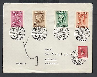 Hungary 1938-39 Two First Day Covers W Girl Scout Set To Chur Switzerland