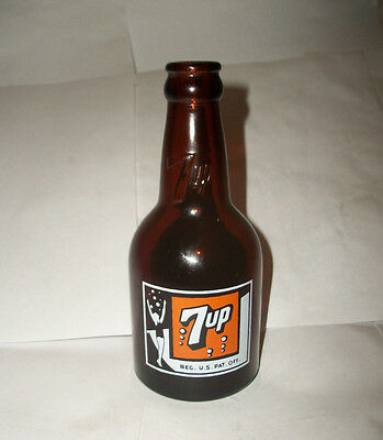 Excellent Vintage 7 Up Amber Squat Bottle Houston Texas