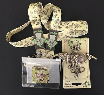 Haunted Mansion O'Pin House Bat Lanyard Medal, Hatbox Ghost Lanyard & Pouch