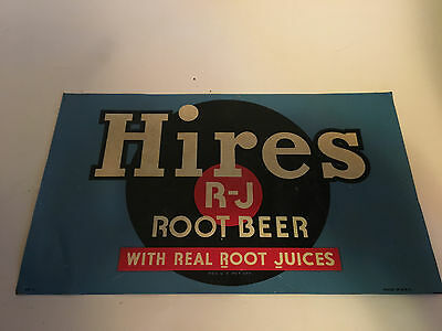 ORIGINAL 1940's - 50's HIRES ROOT BEER SIGN TIN LITHOGRAPH SIGN  # BK-1 U.S.A.
