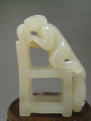 Antique Old Chinese Nephrite Celadon Jade Carved Statue/Pendant *LUCK-Monkey*
