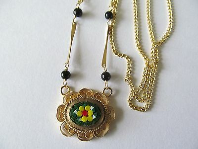 VINTAGE ITALIAN MICRO MOSAIC w/ONYX BEADS-GOLD STEM DESIGN PENDANT GOLD NECKLACE