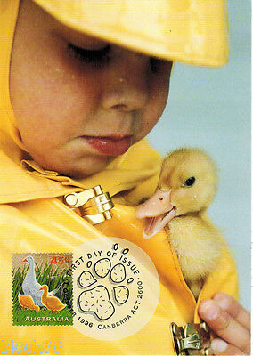 1996 Australian FDC Maxi card CHILD WITH BABY DUCK