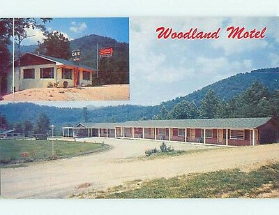 Unused Pre-1980 WOODLAND MOTEL & cafe RESTAURANT Dillsboro NC s4570