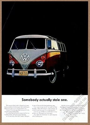 1964 VW Volkswagen bus microbus photo Somebody Actually Stole One vintage ad