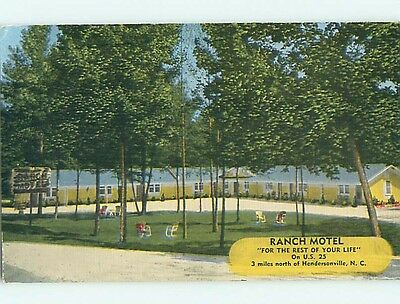 Unused Linen RANCH MOTEL Hendersonville North Carolina NC t0356