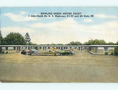 Unused Linen OLD CARS & BOWLING GREEN MOTOR COURT MOTEL Bowling Green KY t0342