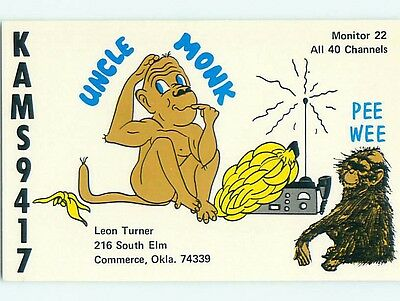 monkey - QSL HAM RADIO CARD Commerce Oklahoma OK t1341