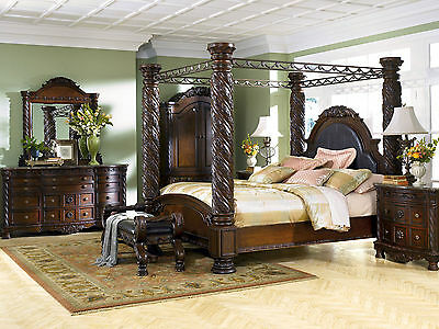 Ashley Furniture B553 North Shore Traditional King Canopy Bed Frame Bedroom Set 2 887 00 Picclick