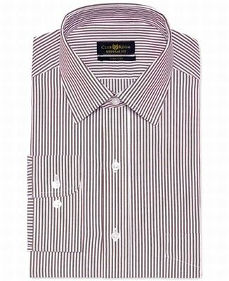 Club Room NEW Ticking Port Red White Mens Size 15 Striped Dress Shirt $52 #176