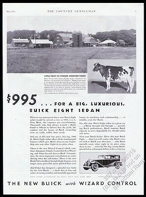 1932 Holstein cow Mount Victoria Farms Quebec photo Buick car vintage print ad