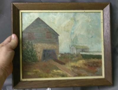 Old Vintage American Landscape Oil Painting w/ Houses Rural Framed Alice Stolpe