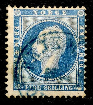 Norway: 1856 Classic Era Stamp Scott #4 Used Sound Cv $20.