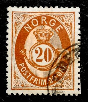 Norway: 1877 Classic Era Stamp Scott #27 Used Sound Cv $20.