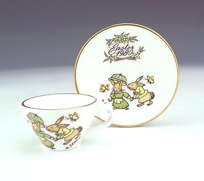 Caverswall Porcelain - Easter 1980 Miniature Cabinet Cup & Saucer - Nice!