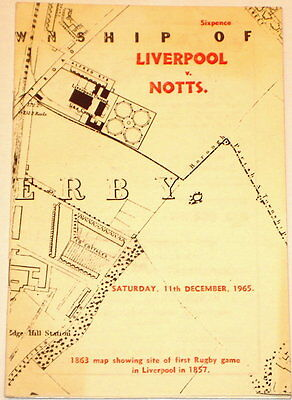 Liverpool Nottingham Rugby Union Programme 1965