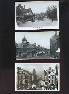 lot of 11 old UK photo postcards, streets