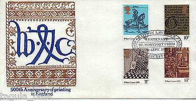 "1976 ""William Caxton"" First Day Cover DE MONTFORT PRESS special h/s"