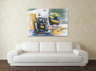 Ayrton Senna & Damon Hill 30x20 Inch Canvas - F1 Farmed Formula One Picture