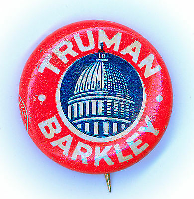 "Beautiful  ~  "" TRUMAN - BARKLEY ""  ~  1948 Superb Campaign Button"