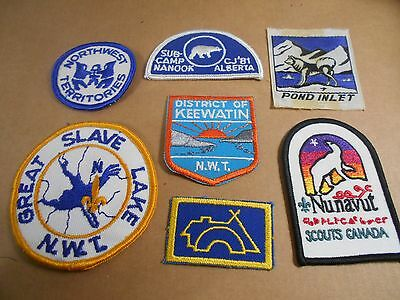 (Sa7-R) Seven Northwest Territories Scout Badges  Unused  Canadian Scout Badges