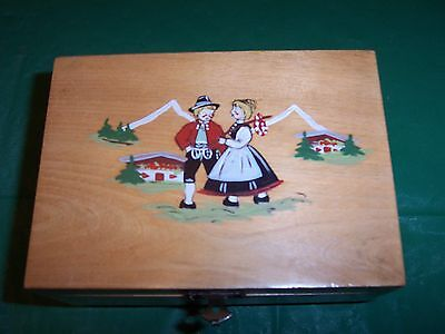 LOVELY  OLD SWISS MUSIC  TRINKET BOX 6 X 4 inches