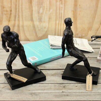 Gymnastic Men Bookends Distressed Wood Pair of Book Ends Vintage Sporty Black
