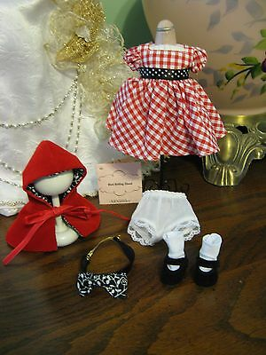 "Dress Madame Alexander 8"" Doll Tag Outfit Red Riding Hood-Shoes-Socks-Cape"
