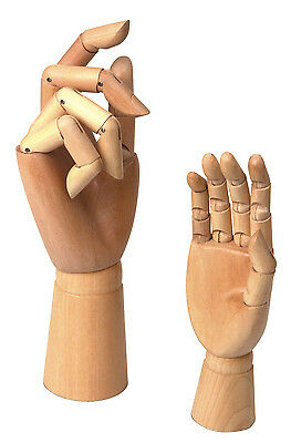 PAIR 12cm CHILDS LEFT & RIGHT WOODEN HANDS ARTIST SKETCHING DRAWING AID WH114L/R