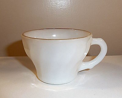 Milk Glass Swirled Punch Cup 1950s ANCHOR Logo
