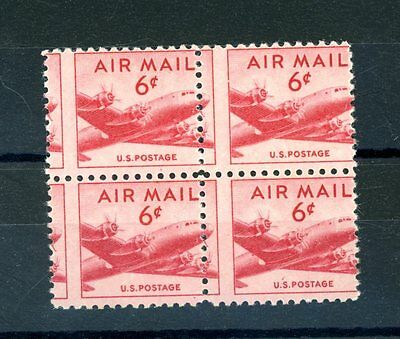 USA  6c Air Mail Perforation Shift  Block (4)  unmounted MINT  (F1007)