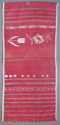 Delightful! C. 1920 Old Pink Needlework Sampler Embroidery Button Holes Borders