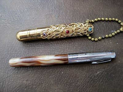 vintage ladies fountain pen and another stone set