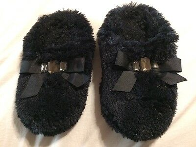 women's black slippers house shoes with bow and jewels size 5 - 6