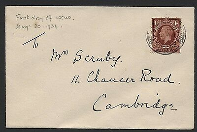 1934 1½d PHOTOGRAVURE FIRST DAY COVER. SG 441