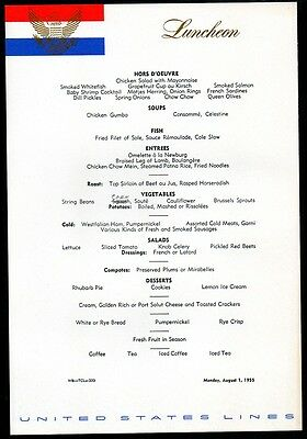 1955 SS United States Cruise Ship Luncheon Menu Excellent!