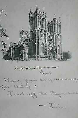 BRISTOL CATHEDRAL FROM NORTH WEST 1902 Vintage Postcard