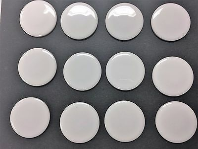 Porcelain tile inserts white glazed discs crafts jewelry ceramic Lot of 12