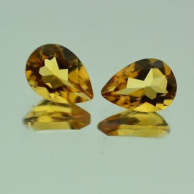 5 PIECES OF 5x3mm PEAR-FACET NATURAL BRAZILIAN GOLDEN CITRINE GEMSTONES £1 NR!