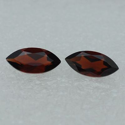A PAIR OF 6x3mm MARQUISE-FACET DEEP-RED NATURAL MOZAMBIQUE GARNET GEMS £1 NR!