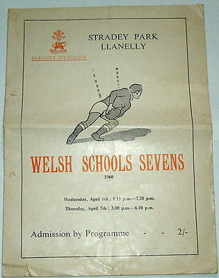 Wales Schools Rugby Seven A Side Programme 1960 Both Age Groups
