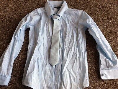 Marks & Spencer Autograph Blue Boys Blue Shirt Age 7 Years Matching Tie