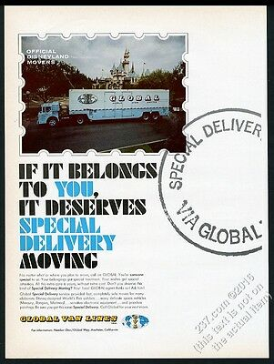 1965 Disneyland Castle photo Global Van Lines moving movers vintage print ad