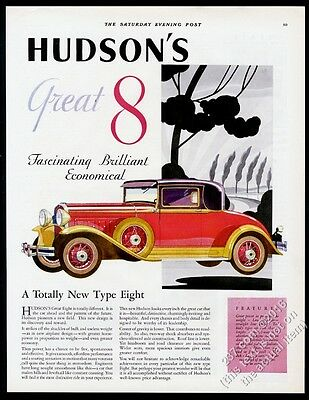 1930 Hudson Great Eight coupe car color art vintage print ad