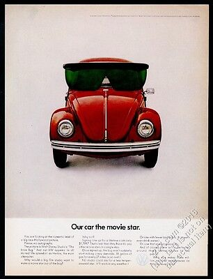 1969 VW Volkswagen Beetle red car wearing giant sunglasses photo vintage ad