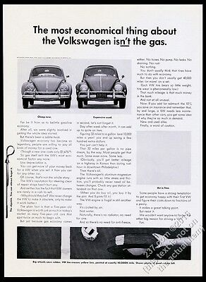 1962 VW Volkswagen Beetle classic car photo The Most Economical Thing print ad