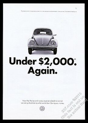 1972 VW Volkswagen Beetle classic car photo Under 2000 Again vintage print ad